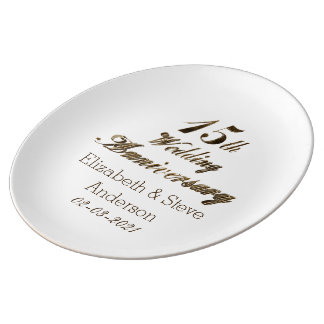 15th Wedding Anniversary Typography Elegant Gold Plate