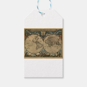 World map gift tags zazzle 1600s original painted world map gift tags gumiabroncs Gallery