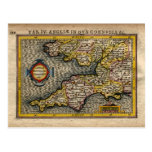 1610 Map of Cornwall, Devon, Somerset, etc...