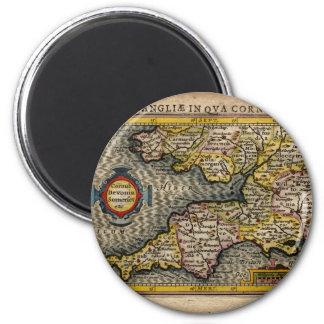 1610 Map of Cornwall, Devon, Somerset, etc... 6 Cm Round Magnet