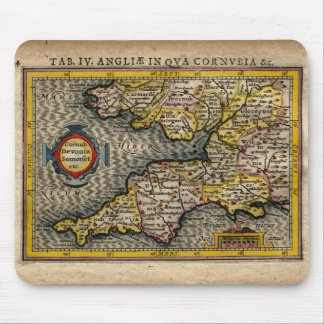 1610 Map of Cornwall, Devon, Somerset, etc... Mouse Mat
