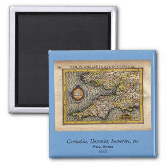 1610 Map of Cornwall, Devon, Somerset, etc... Square Magnet