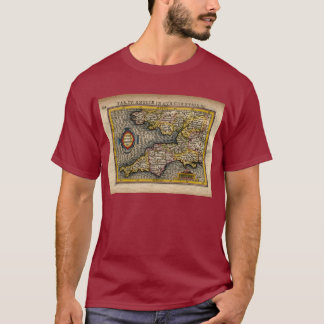 1610 Map of Cornwall, Devon, Somerset, etc... T-Shirt