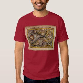 1610 Map of Cornwall, Devon, Somerset, etc... Tee Shirt