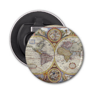 1626 Vintage World Map Bottle Opener