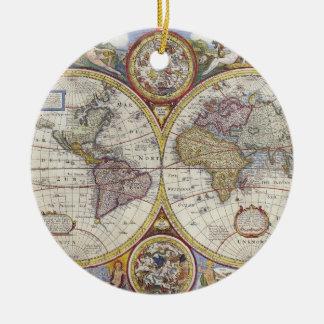 1626 Vintage World Map Christmas Ornament