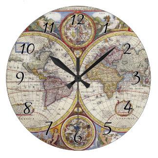 1626 Vintage World Map Large Clock
