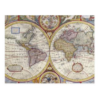 1626 Vintage World Map Postcard