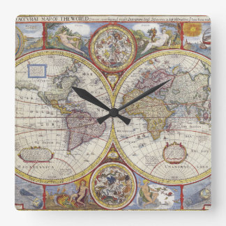 1626 Vintage World Map Square Wall Clock