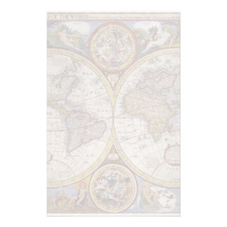 1626 Vintage World Map Stationery