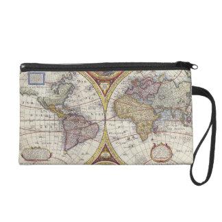 1626 Vintage World Map Wristlet Clutch