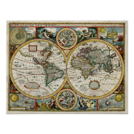 1627 Vintage World Map Poster