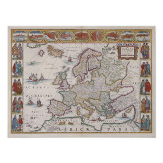 1630 Map of Europe Poster