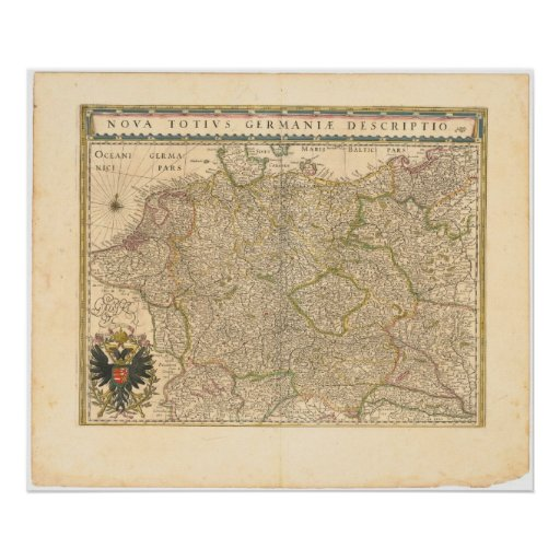 1645 Map of Germany Poster
