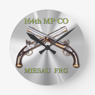 164th MP Company Badge and Crossed Pistols Round Clock