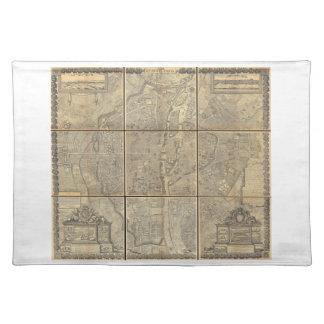 1652 Gomboust 9 Panel Map of Paris Placemats
