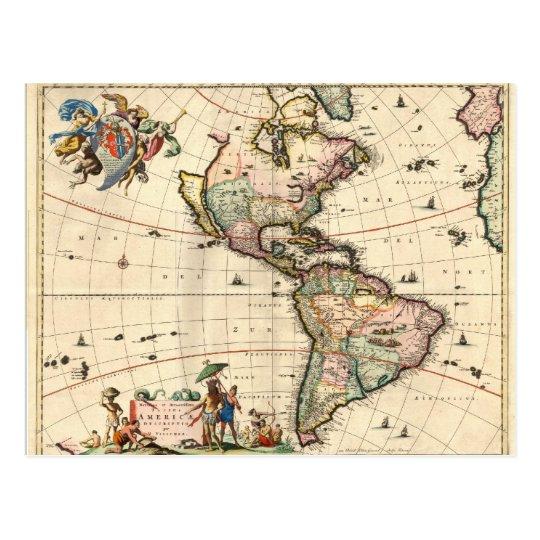 1670 America Map Postcard
