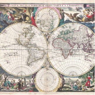 1685 Bormeester Map of the World Photo Cutouts