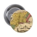 1685 Map - New Belgium, The New World, New England 6 Cm Round Badge
