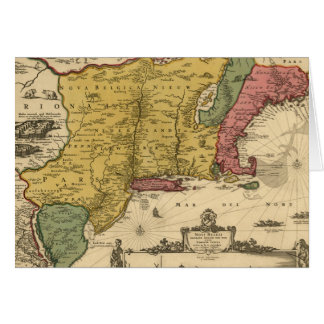 1685 Map - New Belgium, The New World, New England Card