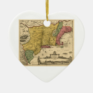 1685 Map - New Belgium, The New World, New England Ceramic Heart Decoration