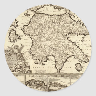 1688 Greece Greek Peloponnesian Map Round Sticker