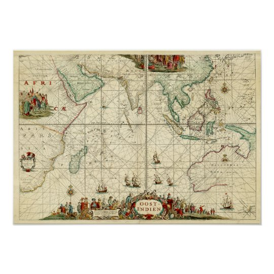 1690 Sea Chart from Dutch East India Company