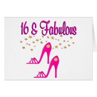 16 AND FABULOUS 16TH BIRTHDAY DESIGN GREETING CARD