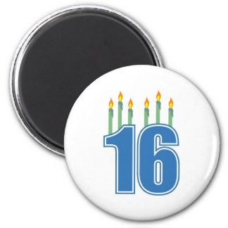16 Birthday Candles (Blue / Green) Magnet