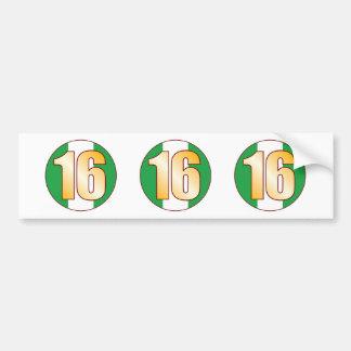 16 NIGERIA Gold Bumper Sticker