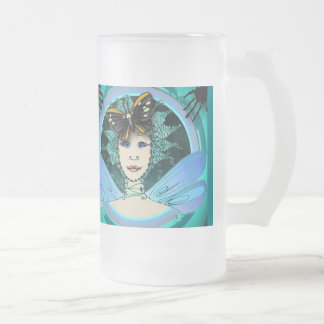 16 oz Frosted Glass Mug - Green Fairy & Butterfly