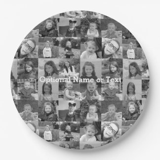 16 Photo Collage - You square photos or instagram 9 Inch Paper Plate
