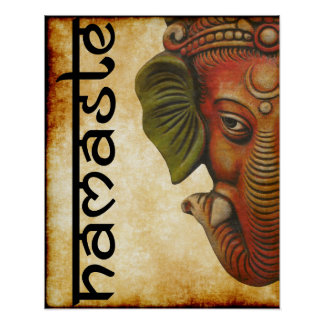 """16""""x20"""" poster Indian God ganesha namaste design"""