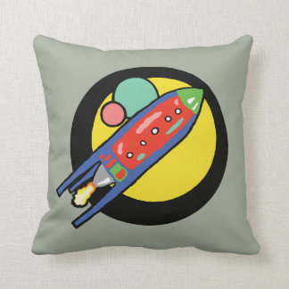 "16"" x 16"" Rocket Ship Polyester Throw Pillow"