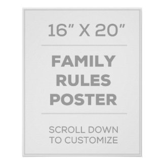 "16"" x 20"" Family Rules Poster"