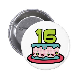 16 Year Old Birthday Cake Pinback Buttons