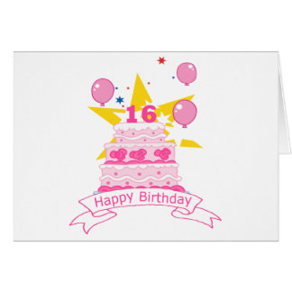 16 Year Old Birthday Cake Cards