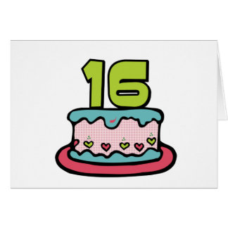 16 Year Old Birthday Cake Card
