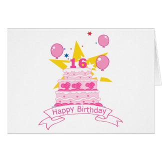 16 Year Old Birthday Cake Greeting Card