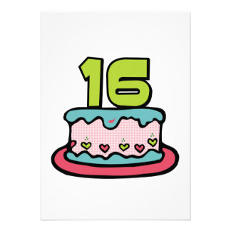 16 Year Old Birthday Cake Personalized Announcements