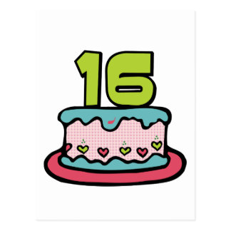 16 Year Old Birthday Cake Post Cards