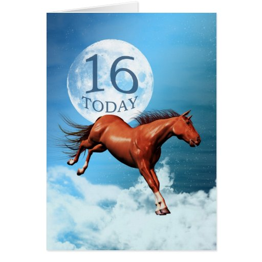 16 years old birthday card with spirit horse