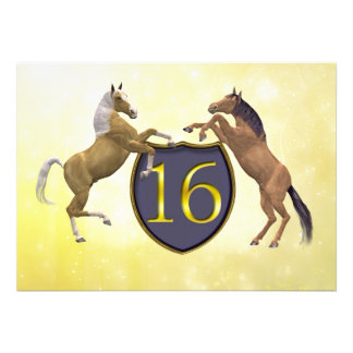16 years old birthday party rearing horses custom announcements