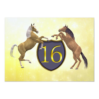 "16 years old birthday party rearing horses 5"" x 7"" invitation card"