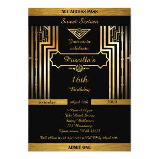 16th,Birthday 16th, Gatsby style, black & gold 13 Cm X 18 Cm Invitation Card