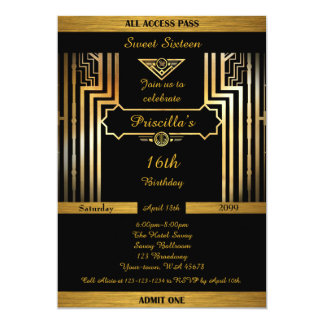 16th,Birthday 16th, Gatsby style, black & gold Card