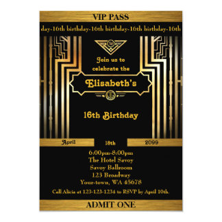 16th,Birthday 16th,Gatsby style,ticket,black gold 13 Cm X 18 Cm Invitation Card