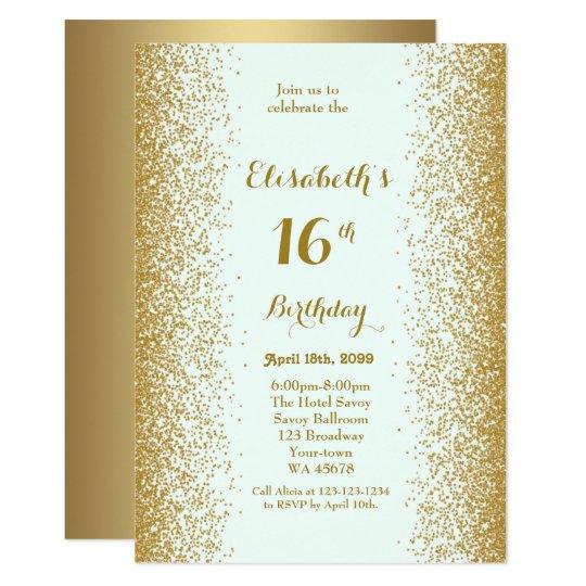 16th,Birthday 16th,Glitter, white gold Card