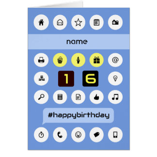 16th birthday add name personalized computing card