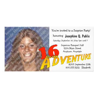 16th Birthday Adventure Party Photo Invitation Picture Card